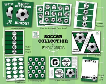 SOCCER Collection - for Birthday Party, Sports Event or Baby Shower - Customized - DIY Football Printable Coordinating Design Accessories