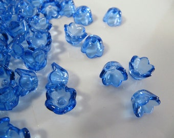 10mm Acrylic Flower BEAD Caps in Clear Blue, Transparent Bells, 50 Pieces, 10mm x 8mm, Spacer Frames