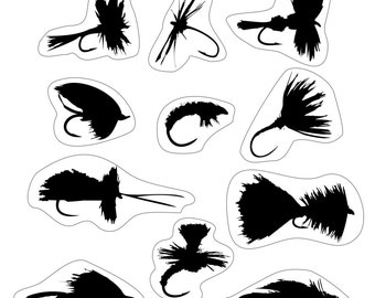 FLY FISHING FLIES - set of 15 fly stickers - dry fly, nymph, streamer, salmon fly.