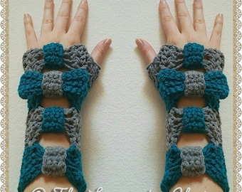 Valerie's Cinched Bow Fingerless Gloves Crochet Pattern *PDF FILE ONLY* Instant Download