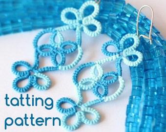 PDF Vineyard earrings - tatting pattern by littleblacklace - instant download - shuttle tatting