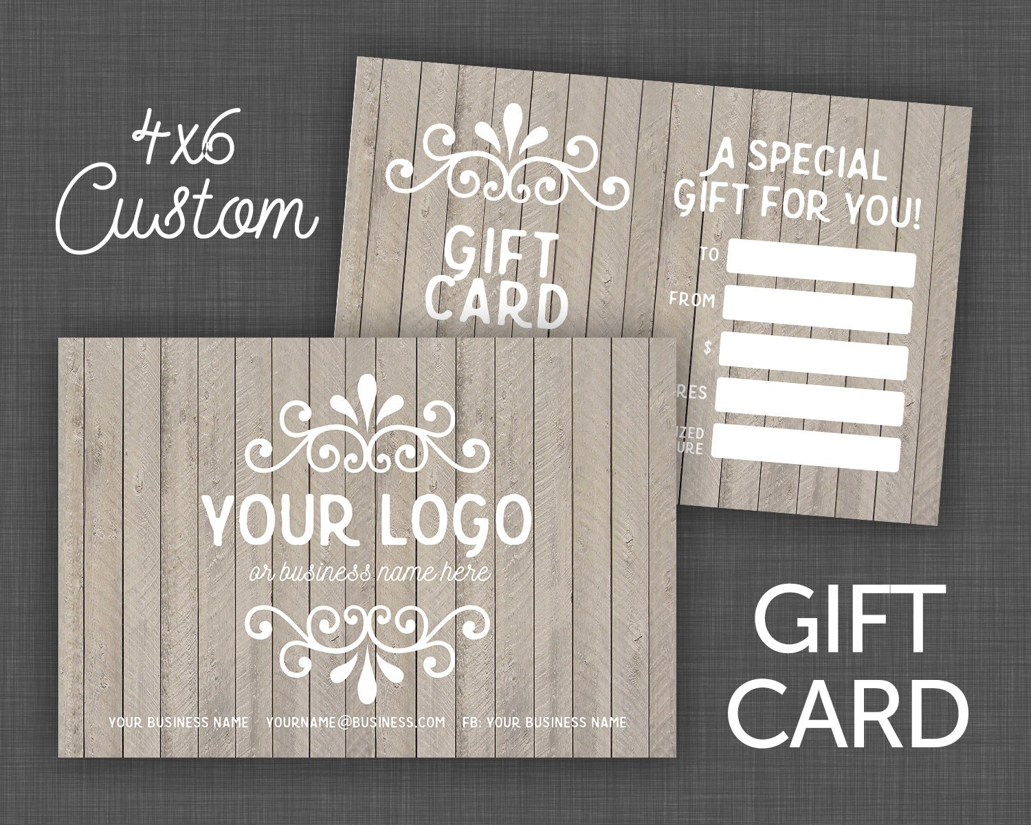 Printable Gift Card Wood Shabby Style 4x6 Gift Card