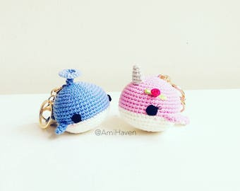 Whale Keychain Amigurumi Doll Handmade Gift Plush Whale