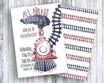 ALL ABOARD - Train Birthday Invitation   Digital Download
