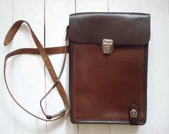 Vintage Soviet Army officers tablet Military Leather Bag 1984 Officer Bag Russian Planshet Shoulder Bag Messenger bag