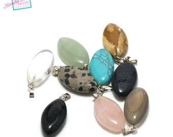 "set of 5 gemstone pendants ""puck oval 24 x 12 x 6 mm"", assortment of different stones"