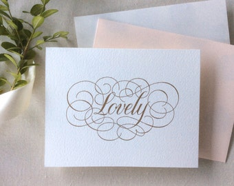 Hand Lettered Love Note- Lovely (Pale Pink or White)