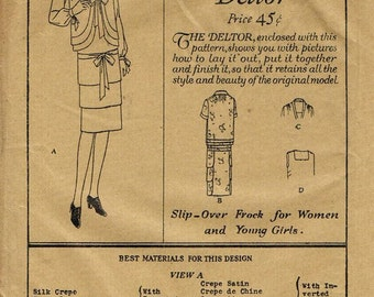 1920s Tiered Dress Jacket Square Neck Shawl Collar Drop Waist Flapper Dress Butterick 1448 FF Bust 36 Women's Vintage Sewing Patterns