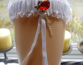 White Gothic Wedding Red Blood Moon Bat Ribbon And Lace Garter