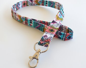Tribal Print Lanyard / Aztec Print / Funky Keychain / Abstract / Chartreuse / Key Lanyard / ID Badge Holder / Fabric Lanyard / Colorful