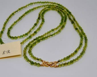 necklace, peridot, green, multistrand, made in Italy, gemstones, golden 925 sterling silver