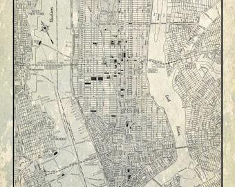 new york city map 1944 new york city manhattan street map gray grunge