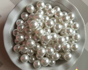 20mm White Chunky Beads Bubble Gum Pearls (A63)