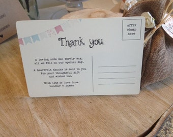 10 x Personalised Vintage/Rustic 'Thank you' postcards - 'Bunting' design