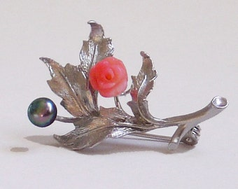 Leafy Coral Rose and Freshwater Pearl Brooch