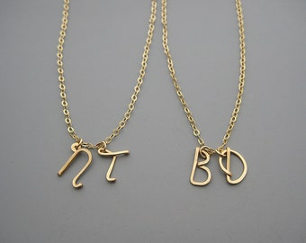 Double Initial Necklace - gold filled two cursive capital letter, personalized mom jewelry, grandma gifts