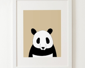 Panda print, zoo animals, animal print, nursery wall art, art for kids, baby rooms decor