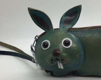 Vintage Leather Rabbit Bunny Coin Purse  Shape Wallet Wristlet Strap