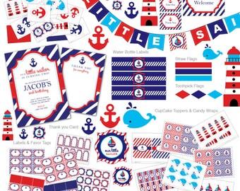 Nautical Birthday invitation, Nautical invitation, nautical invite, Nautical birthday party, Nautical DIY, centerpieces, Ocean, Invitation