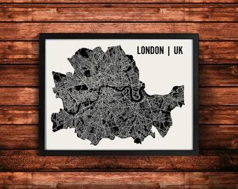 London Map Artwork | Map of London | London UK Map | London City Map | London Poster | London Wall Art Print