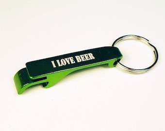 Engraved Bottle Opener, Aluminum Keychain, Wedding Gift, Birthday, Special Occasion, Christmas Gift, Green