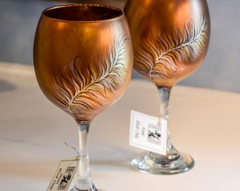 Hand Painted Copper Feather Glass