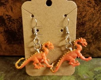 Little Rubber Orange Dragon Toy Earrings