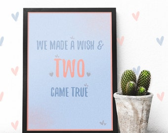 Baby Twins Boy And Girl Room Decor Gifts For Wall Art Poster Twin Shower Decoration Nursery Print