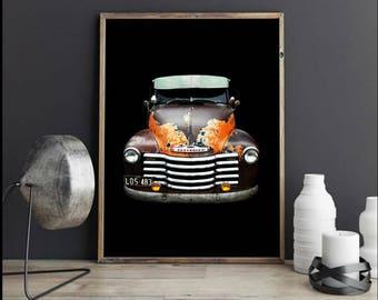 Chevrolet Truck Print Automotive Art Hot Rod Wall Art Print For Him Garsge Art Kustom Kulture Vintage Car Photography Mechanic Chevy Gift