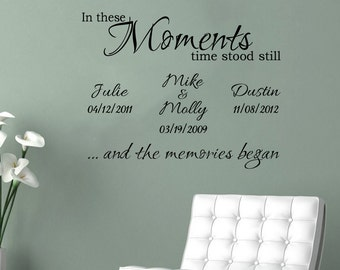 Personalized In These Moments Time Stood Still wedding wall decal