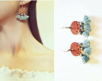 Leather earrings, tassel earrings, boho earrings, bohemian earrings, shapes leather earrings, fringe earrings