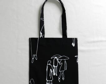 Rainy day book bag - Shopping bag - Tote bag - Lined fabric bag - Library bag - Book tote - Music bag - People with umbrellas - Rain day bag