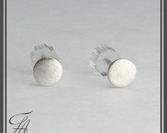 Flat Disc Silver Studs, Minimalist Earrings, Post Studs, Handmade Studs, Silver Earrings, Minimalist Earrings, Round Disc Studs, 3mm