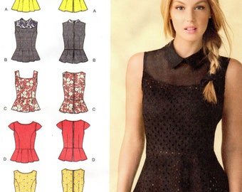 Misses Dressy Summer Peplum Tops with Neck and Sleeve Variations, Sizes 4-12, Simplicity 1425
