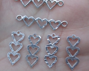Sterling Silver Heart Trio-Vertical or Horizontal