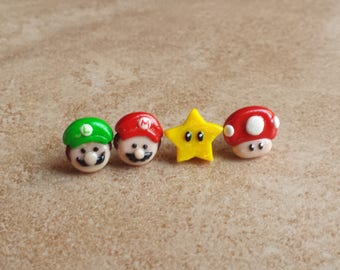 Mario Bros Inspired Earrings--Power Up Mushroom and Star Mario Bros Inspired Earrings