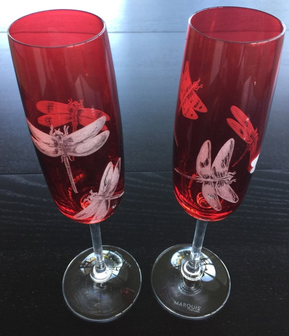 Hand Engraved Dragonflies on Flutes, Home Decor, Dining, Barware, Gifts, Toasting Flutes