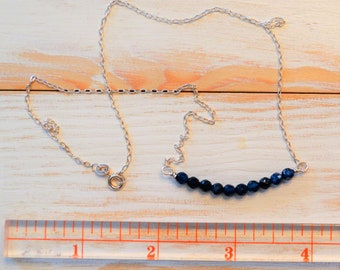 Lapis and Sterling Silver Layered Look or Along Necklace
