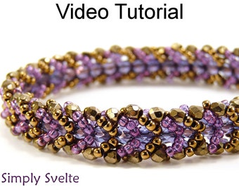 Beading Tutorial Pattern Flat Spiral Stitch Beaded Jewelry Making Bracelet MP4 You Tube Video Bead Bracelets Bead Beginner Easy #9706