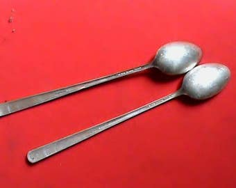 Lot of two Gorham 1941 Camellia pattern 7 1/2 inch Sterling Silver iced tea spoons no monogram