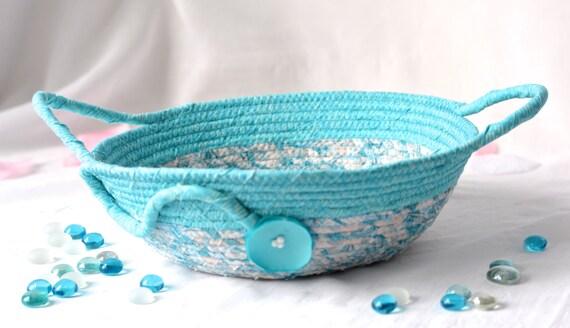 Summer Gift Basket, Handmade Blue Bowl, Shabby Chic Key Holder, Aqua Blue Handled Basket, Unique Turquoise Kitchen Decor