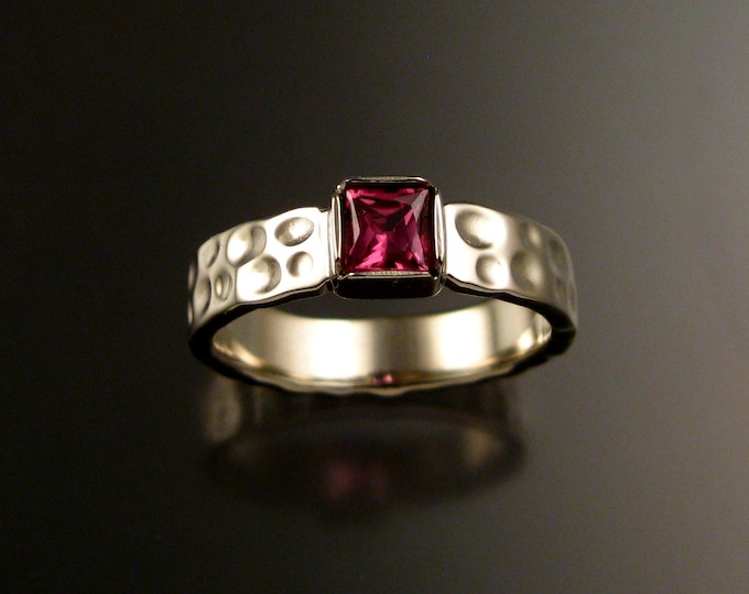Tourmaline square Moonscape ring handcrafted in 14k white gold with your choice of pink or green color made to order in your size