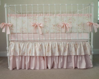 Vintage Floral Shabby Chic Baby Pink and Ivory / Antique Cream Baby Girl Crib Cot Bedding made from Mary Rose Fabric