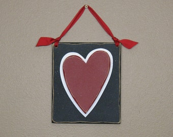 Red HANGING HEART with BLACK Backer for valentine and home wall hanging decor