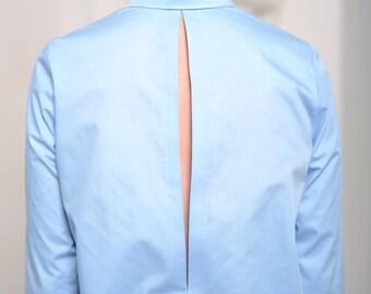 Shirt dress Office dress Women's dress Light blue dress Blue dress Cotton dress Open back dress Button down dress Open back Long sleeves