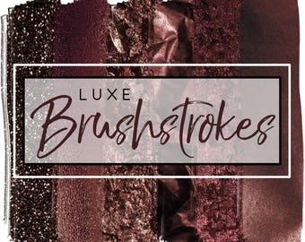 Watercolor Luxe Brushstrokes - Watercolor Clipart - Glitter Clipart - Brushstrokes for Commercial Use - Brown & Maroon Texture