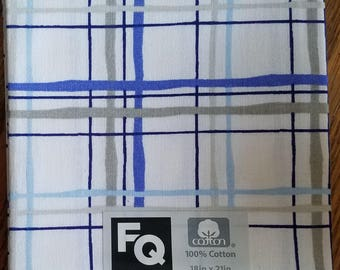 "Fabric Quarters Cotton Fabric 18""- Blue & Gray Stripes on White"
