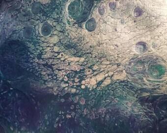 "Abstract Dirtypour Fluid Acrylic Painting 7x9.4"" - Arctic Ocean"
