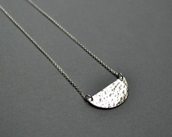 Silver Half Moon Necklace - Fine Sterling Silver, Hammered, Minimalist, Simple, Geometry. Half Moon