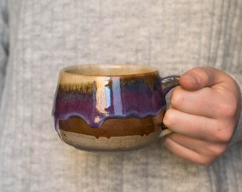 Drippy Purple and Copper Ceramic Mug - Handmade - Pottery